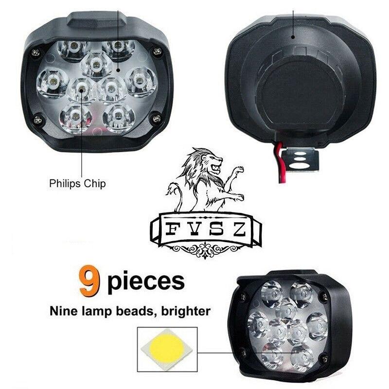 2個オートバイヘッドライトホワイト 超高輝度9/led/6500/18k ワーキングスポットライト バイクフォグランプ 1800LM/led_画像2