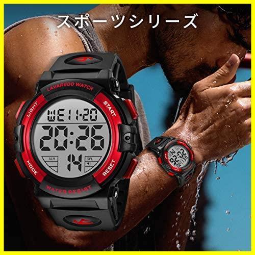 【即決】★色:3-レッド★ 50メートル防水 腕時計(レッド) LED表示 アウトドア スポーツ おしゃれ OAUU デジタル 多機能 メンズ 腕時計_画像4