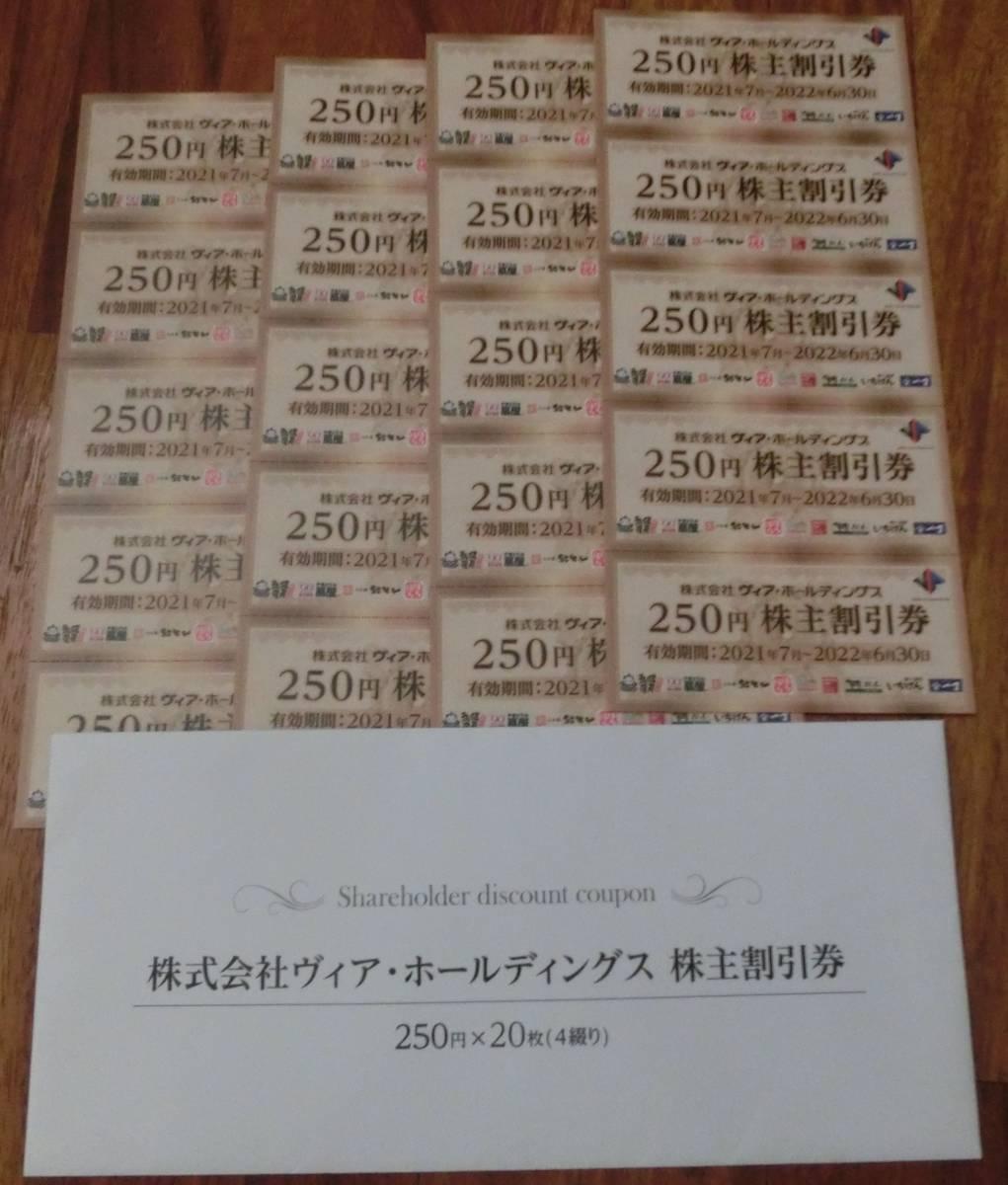 [送料無料] ヴィア ホールディングス 株主優待割引券 5,000円分(250円割引券 x 20枚) 有効期限 2022年6月30日_画像1