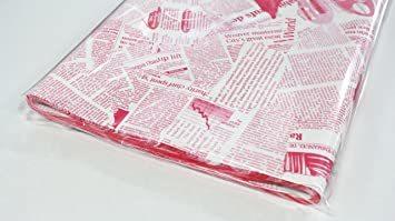 ピンク 【フジパック】 英字新聞紙柄 包装紙 ラッピングペーパー 100枚 おしゃれでかわいいデザイン お花/プレゼント/ギフト_画像2