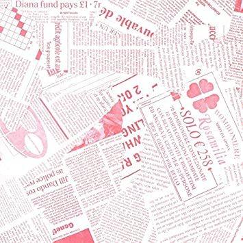 ピンク 【フジパック】 英字新聞紙柄 包装紙 ラッピングペーパー 100枚 おしゃれでかわいいデザイン お花/プレゼント/ギフト_画像1