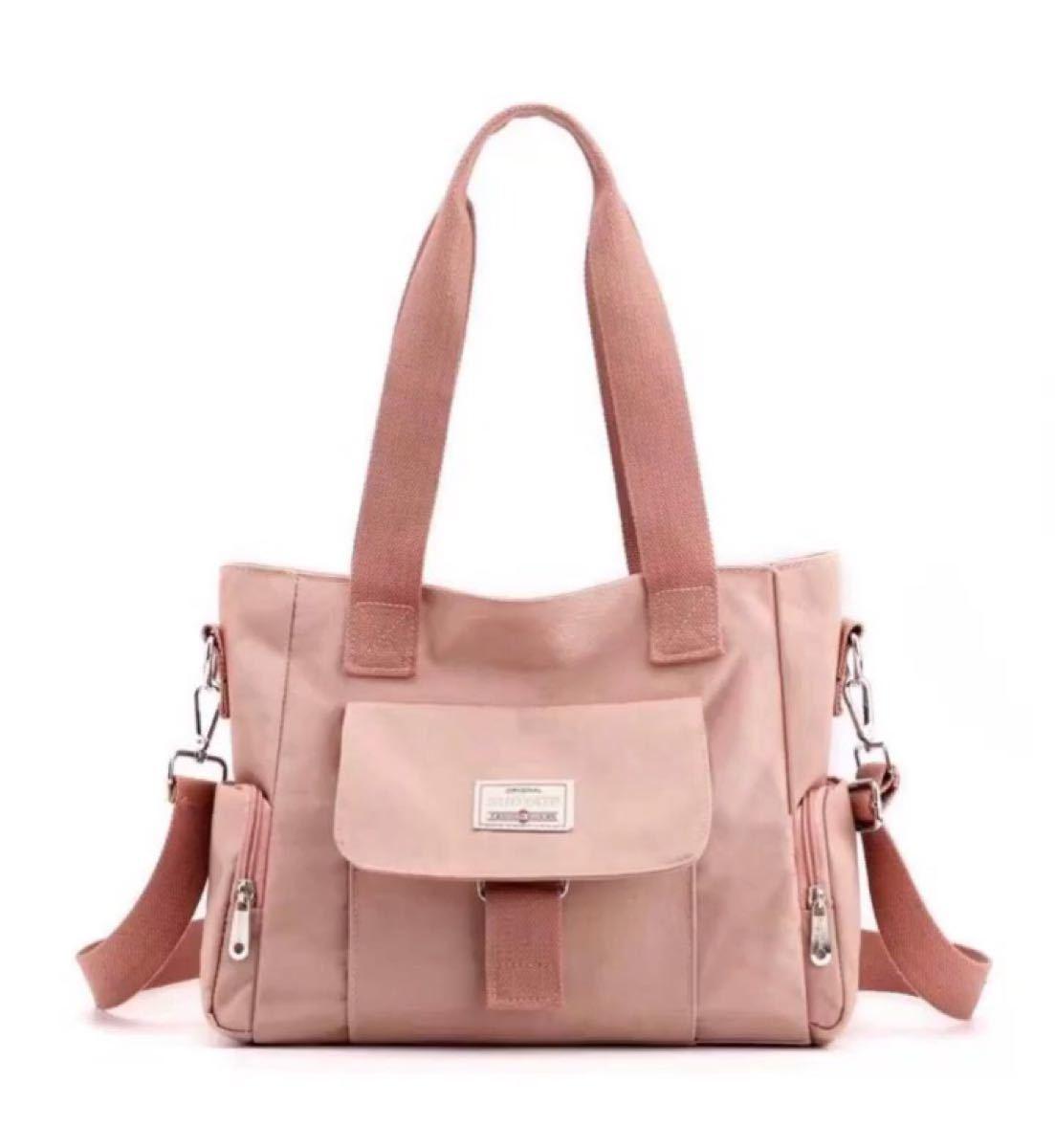 ショルダーバッグ トートバッグ  2way 多機能 大容量 通勤通学バッグ 楽々 撥水加工 ピンク