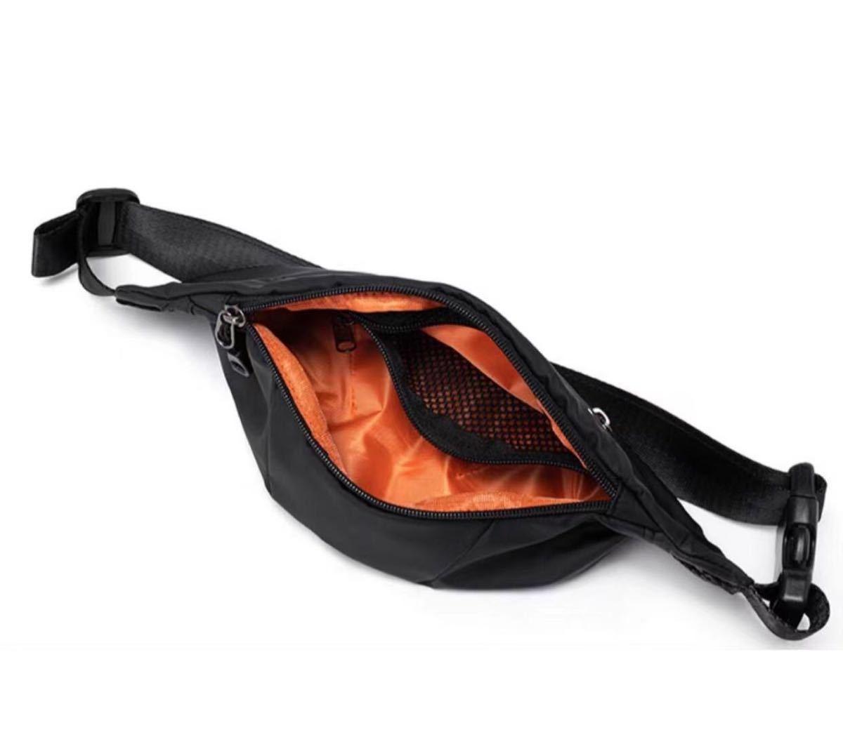 ウエストバッグ ウエストポーチ ボディバッグ BLACK 黒 防水加工 男女兼用 ナイロン 高品質 頑丈 ブラック