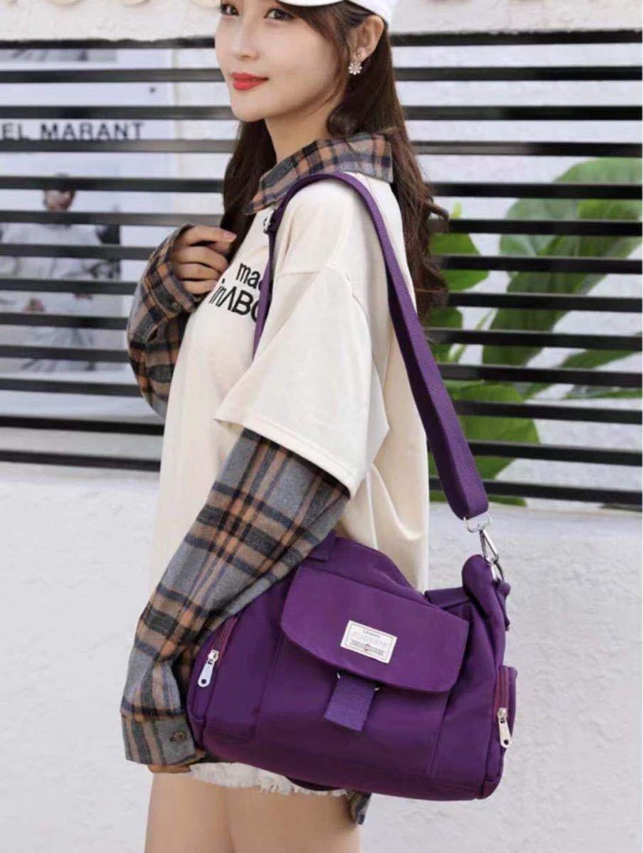 ショルダーバッグ トートバッグ  2way 多機能 大容量 通勤通学バッグ 楽々 撥水加工 パープル