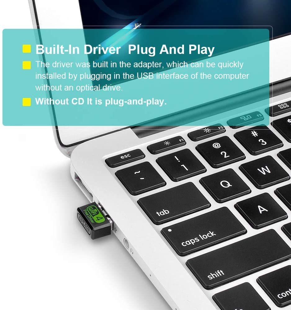 WiFi 無線LAN 子機 ラップトップデスクトップ用のUSBWiFiスティック2.4Ghz内蔵ドライバー