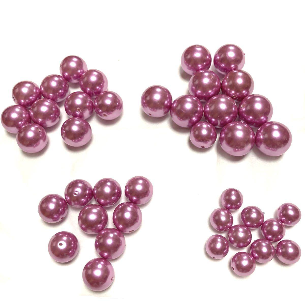ハンドメイドパーツ(9)  40個セット   高級人工真珠 高品質 日本製 濃いめピンク オーロラ 両穴貫通 サイズミックス