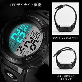 4-ブラック 腕時計 メンズ デジタル スポーツ 50メートル防水 おしゃれ 多機能 LED表示 アウトドア 腕時計(ブラック)_画像4