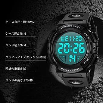 4-ブラック 腕時計 メンズ デジタル スポーツ 50メートル防水 おしゃれ 多機能 LED表示 アウトドア 腕時計(ブラック)_画像7