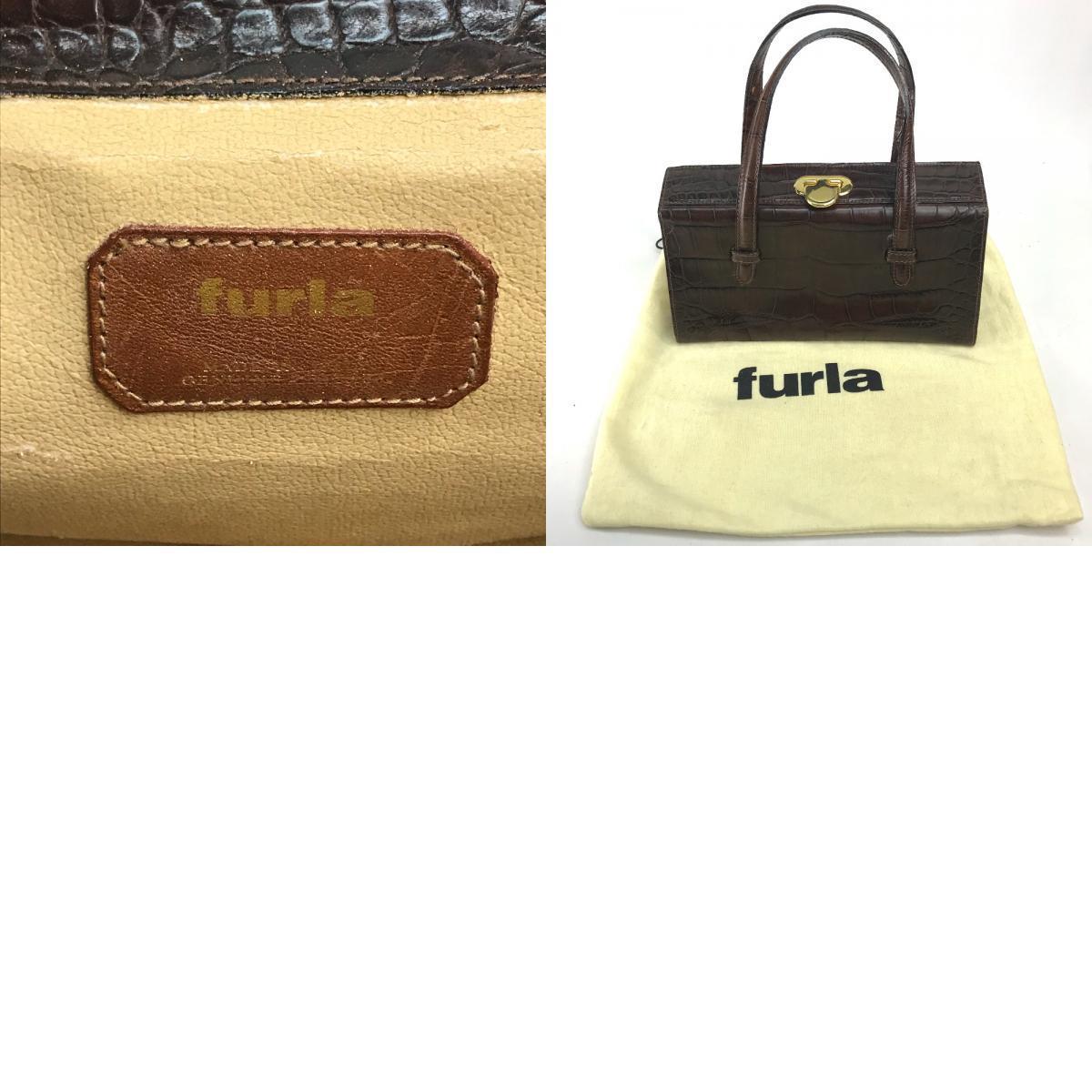 FURLA フルラ クロコ型押しレザー ミニバッグ トートバッグ ハンドバッグ レディース ブラウン/ゴールド金具_画像9