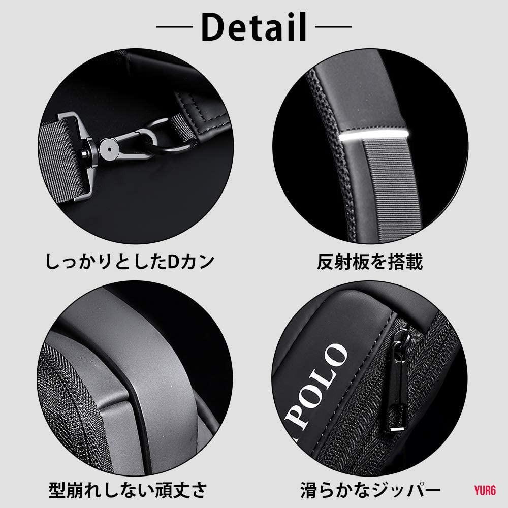 盗難防止ロックのあるボディバッグ メンズ ワンショルダーバッグ 大容量 防水性 耐久性 斜め掛けバッグ USBポート 反射板 グレー
