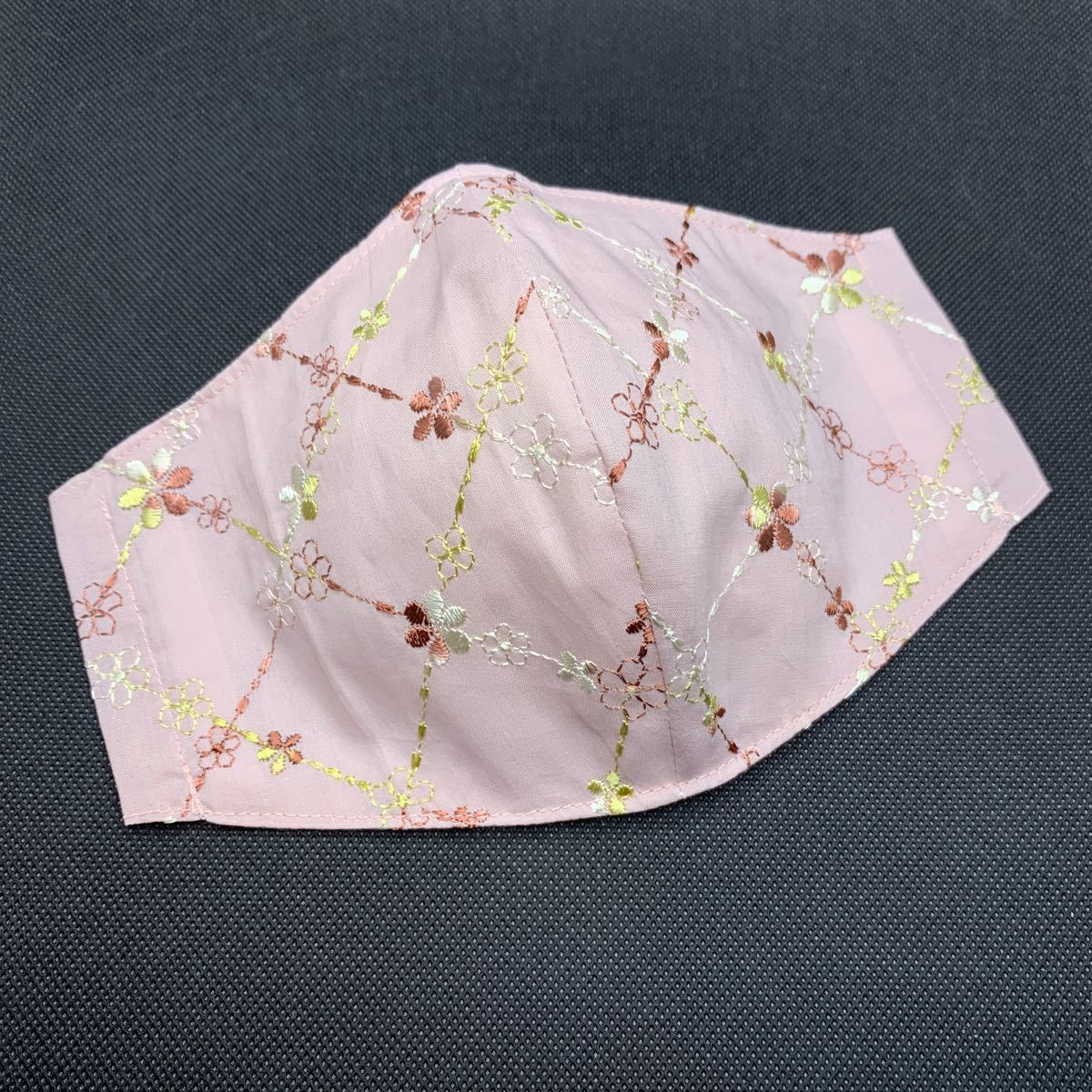 ハンドメイド 立体インナーマスク コットン刺繍 大きめサイズ 大人用 高島ちぢみ くすみピンク