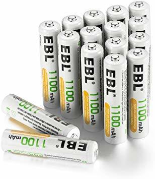 単4電池1100mAh 16本パック EBL 単4形充電池 充電式ニッケル水素電池 高容量1100mAh 16本入り 約120_画像1