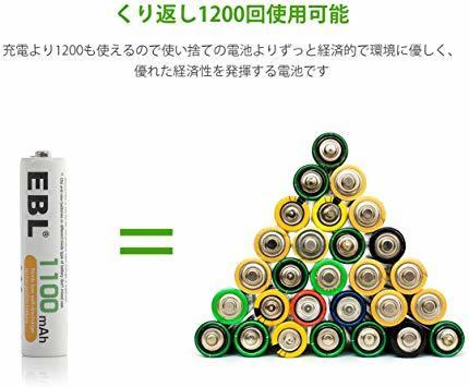 単4電池1100mAh 16本パック EBL 単4形充電池 充電式ニッケル水素電池 高容量1100mAh 16本入り 約120_画像2