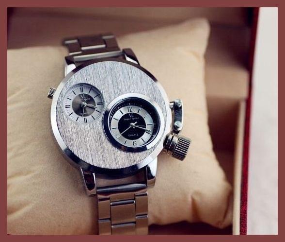 6●■新品-未使用■●腕時計(銀) クロノグラフ アンティーク 正規品 クオーツ 金属 革 バーバリースケルトン シルバーゴールド ウイナー⑭_画像2