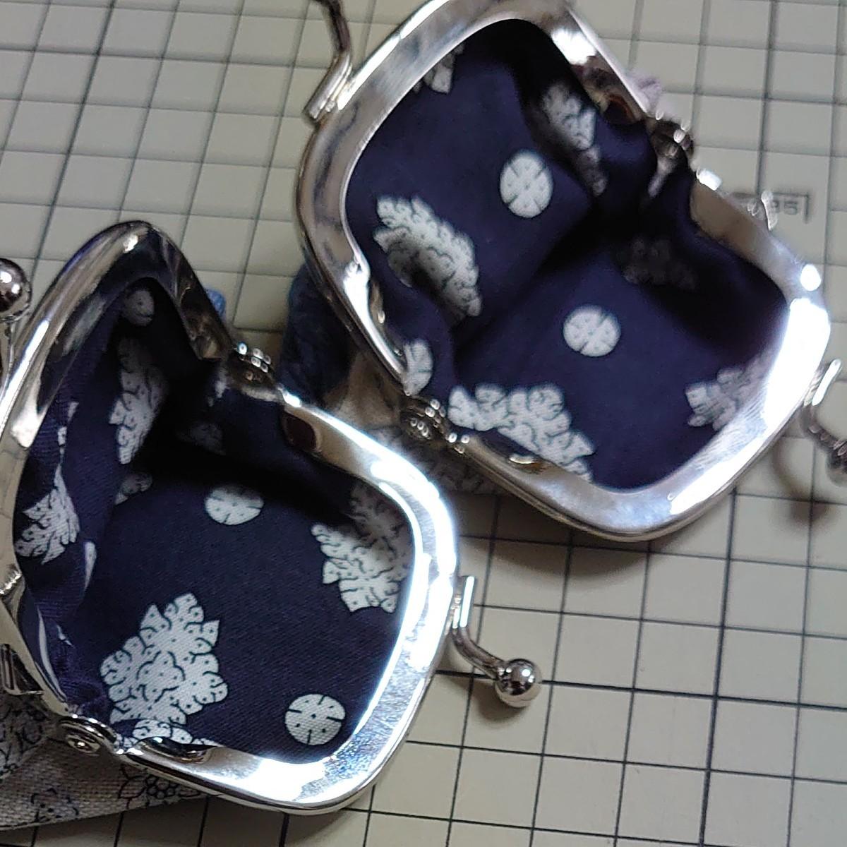 ハンドメイド がま口ポーチ コインケース 小銭入れ 小物入れ 花柄 ブルー 2点セット