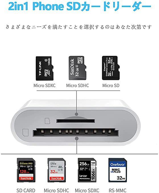 SDカードリーダー 2in1 Phone SD カードリーダー 高速データ転送 写真 ビデオ 双方向データ転送 I0S13システム以降に対応