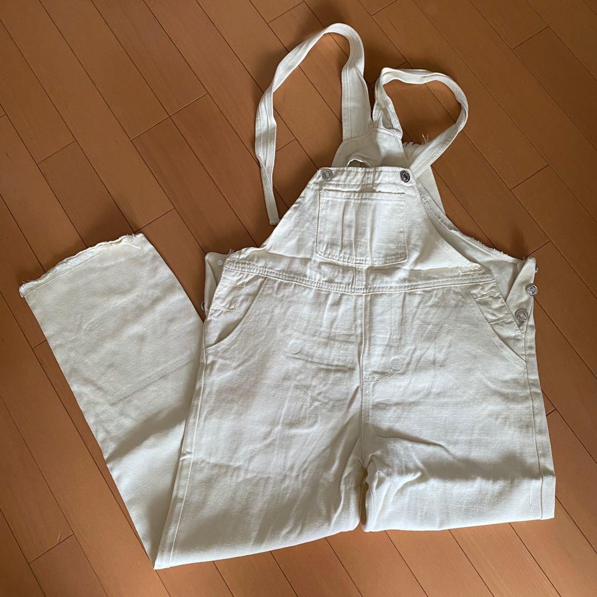 オーバーオール デニム オールインワン サロペット 韓国 ポケット 新品 細見え 白 ホワイト L カジュアル ママさん レジャー