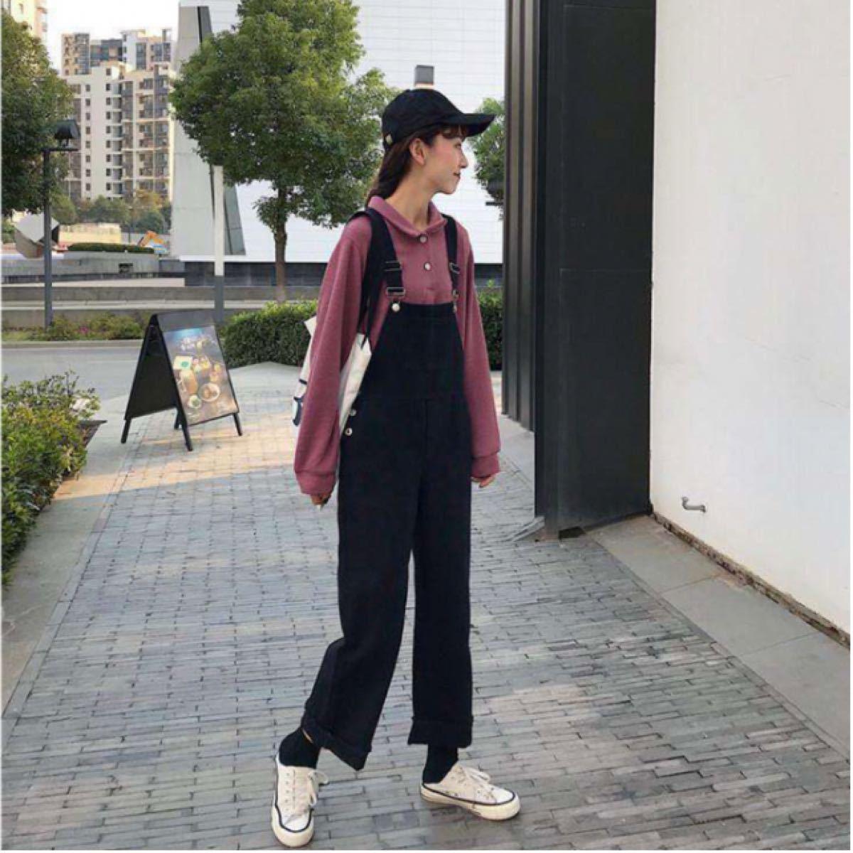 オーバーオール デニム オールインワン サロペット 韓国 ポケット 新品 細見え 黒 ブラック XL カジュアル ママさん