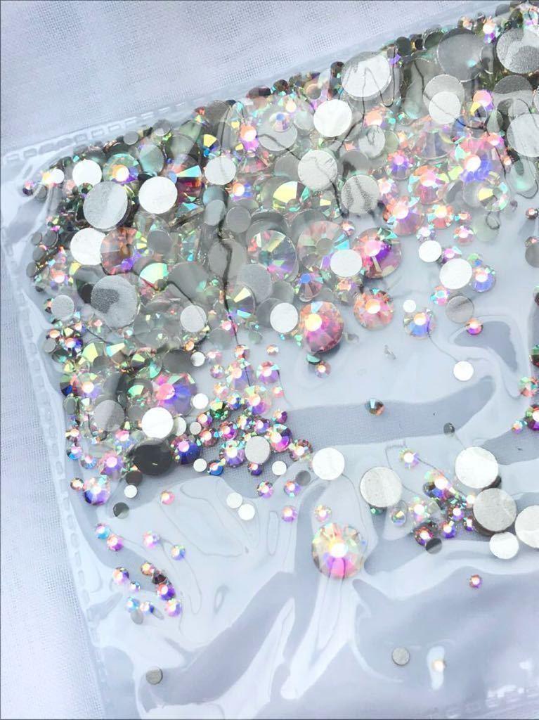 オーロラ スワロフスキークリスタル ラインストーン代用品 SS3~SS30mix 1440pcs クリスタルカラーAB ネイルアート 送料無料