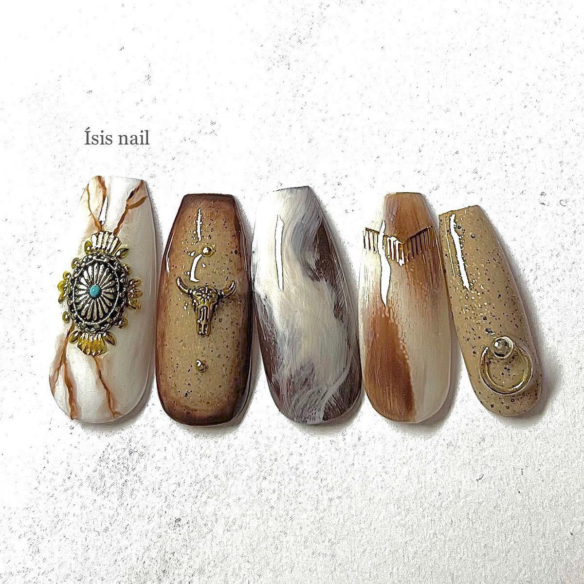 ネイルチップ バイソンネイル ウエスタンネイル ターコイズ 前撮り 成人式 付け爪 ネイルアート ニュアンスネイル