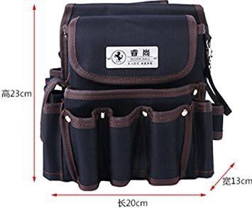ブラック2 weijiekk ツールバッグ ウエストバッグ 腰袋 作業 収納 工具入れ 電工袋 電工道具袋 工具袋 工具差し_画像2