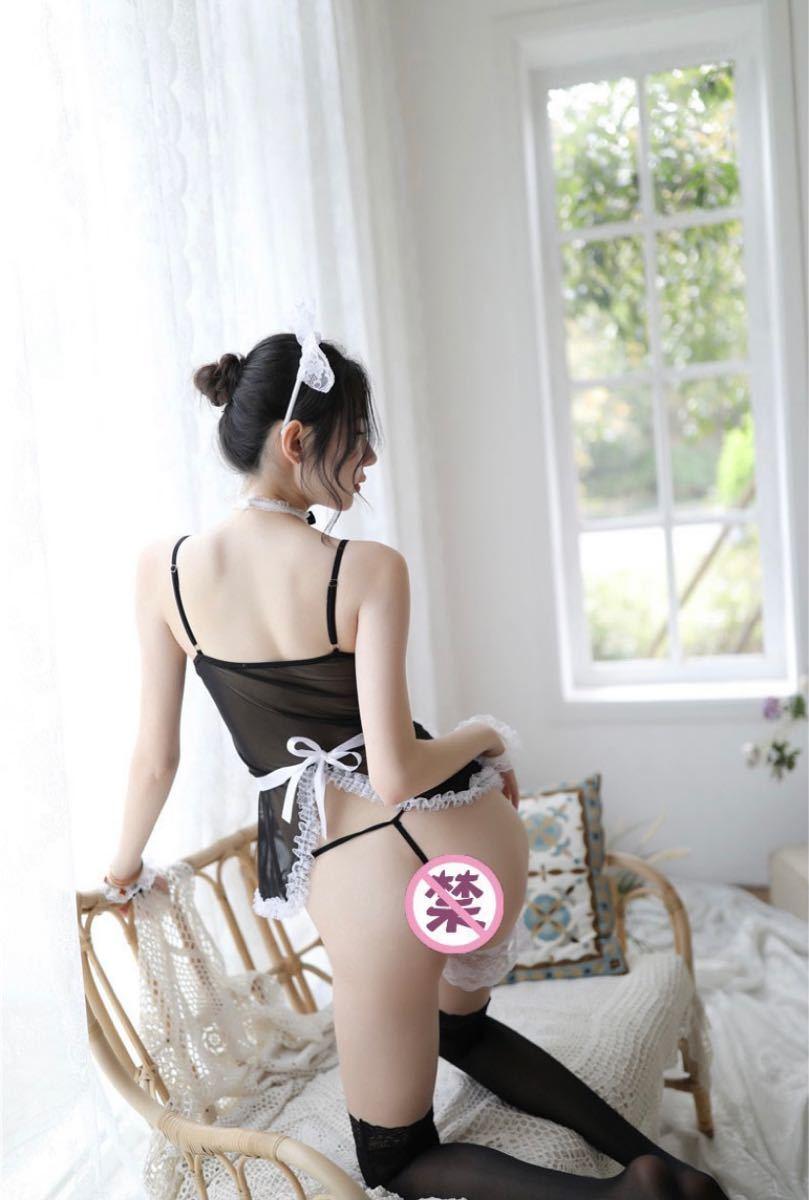 セクシーランジェリー メイド服 セットシースルー ベビードール コスプレ衣装 ナイトウェア Tバック ブラック