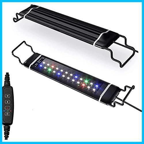 水槽ライト アクアリウムライト スライド式 LED熱帯魚ライト 水槽用 明るさ調整 3色12W/24LED 観賞魚飼育 水草育成 (30-48cm 水槽に対応)_画像1