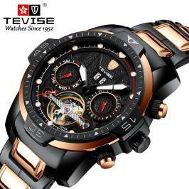 男性高級腕時計 機械式自動巻 多機能 カレンダー 曜日表示 トゥールビヨン メンズウォッチ 夜光 防水 紳士 ファション /black gold-s_画像1