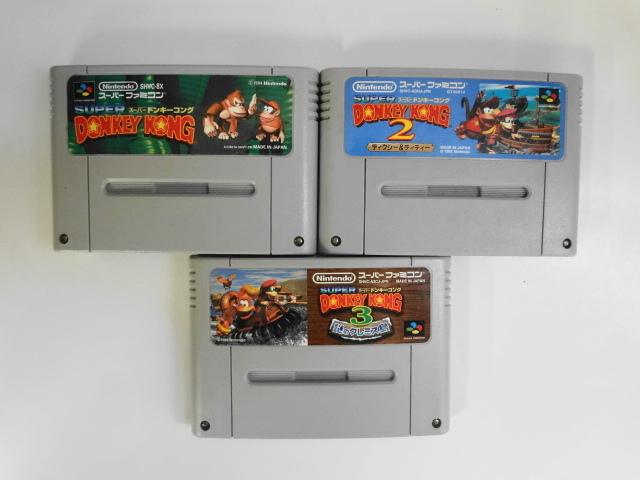 SFC21-018 任天堂 スーパーファミコン SFC スーパードンキーコング 1 2 3 セット 名作 人気 シリーズ レトロ ゲーム ソフト