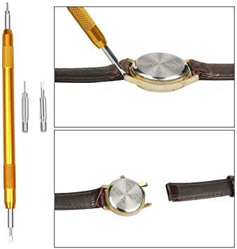 黒色 時計工具 時計修理 電池交換 腕時計ベルト調整 バンド調整 時計道具セット 時計用工具 収納便利 1年保証 腕時計修理工具_画像6