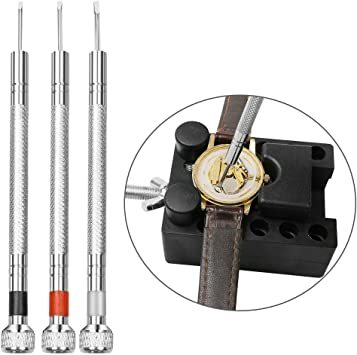 黒色 時計工具 時計修理 電池交換 腕時計ベルト調整 バンド調整 時計道具セット 時計用工具 収納便利 1年保証 腕時計修理工具_画像7
