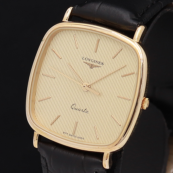 1円☆稼働☆良品【ロンジン】ゴールド文字盤 スイス製 QZ メンズ腕時計 610A0129195