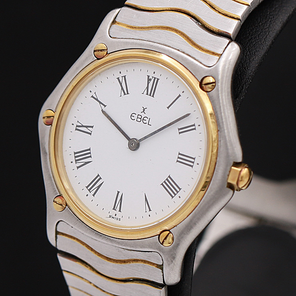 1円★稼働★【エベル】スポーツクラシック スイス製 白系文字盤 コンビカラー QZ メンズ腕時計 220A0129475