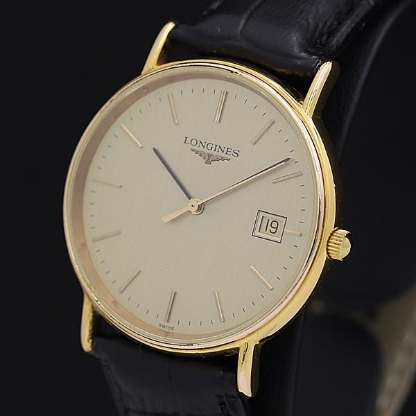 1円☆稼働☆良品【ロンジン】ゴールド文字盤 デイト スイス製 QZ メンズ腕時計 310A0129910
