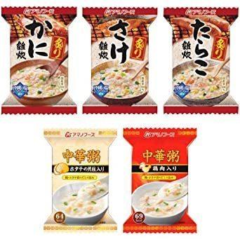 新品アマノフーズ フリーズドライ 雑炊 中華粥 5種類 15食 小袋ねぎ1袋 セットT0C5_画像2