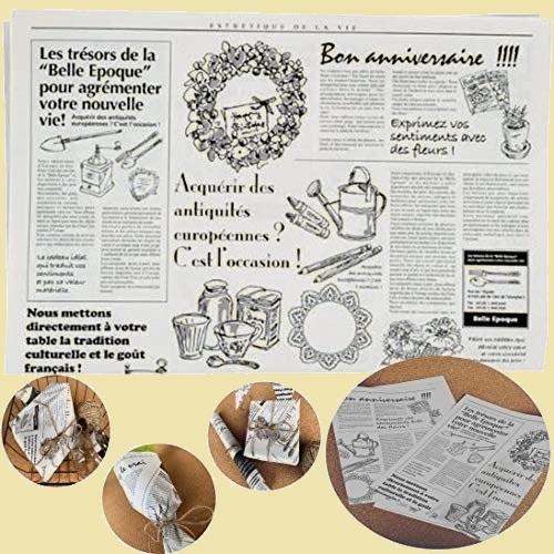 セール 新品 お花や,ギフト商品のラッピングに! フランスの新聞紙風プリント K-AE 100枚 【】 仏字・英字 包装紙_画像1