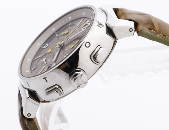 LOUIS VUITTON ルイヴィトン Q1322 タンブール クロノグラフ 腕時計 レディース 正規品 稼働品_画像3