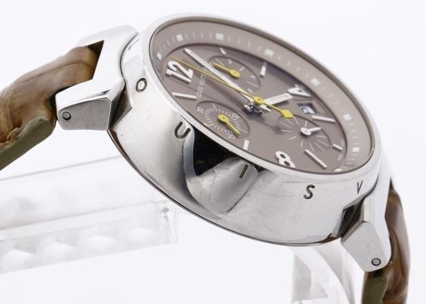 LOUIS VUITTON ルイヴィトン Q1322 タンブール クロノグラフ 腕時計 レディース 正規品 稼働品_画像4