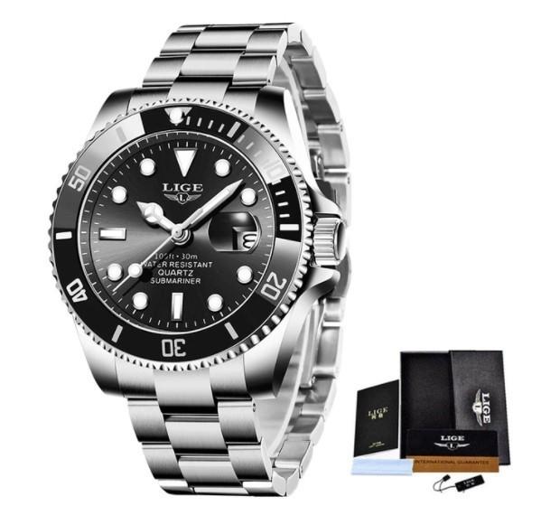 LIGE トップブランドの高級ファッションダイバー腕時計男性 30ATM 防水日付時計スポーツ腕時計メンズクォーツ腕時計レロジオ Masculino a_画像1