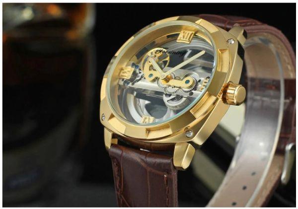 メンズ高級腕時計 43mm 機械式自動巻 スケルトンデザイン トゥールビヨン 本革ベルト 紳士ウォッチ|a_画像2