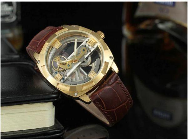 メンズ高級腕時計 43mm 機械式自動巻 スケルトンデザイン トゥールビヨン 本革ベルト 紳士ウォッチ|a_画像3