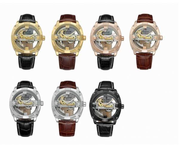 メンズ高級腕時計 43mm 機械式自動巻 スケルトンデザイン トゥールビヨン 本革ベルト 紳士ウォッチ|a_画像4