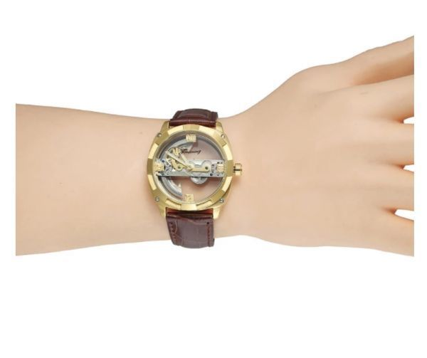 メンズ高級腕時計 43mm 機械式自動巻 スケルトンデザイン トゥールビヨン 本革ベルト 紳士ウォッチ|a_画像6