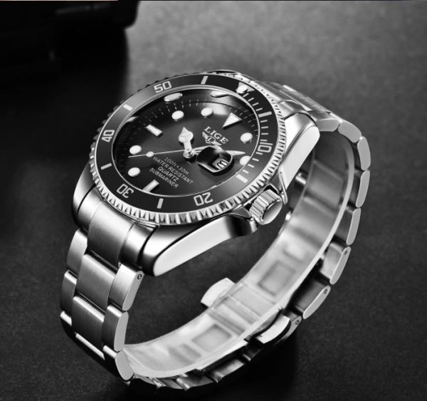 LIGE トップブランドの高級ファッションダイバー腕時計男性 30ATM 防水日付時計スポーツ腕時計メンズクォーツ腕時計レロジオ Masculino a_画像2