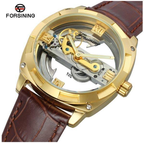 メンズ高級腕時計 43mm 機械式自動巻 スケルトンデザイン トゥールビヨン 本革ベルト 紳士ウォッチ|a_画像1