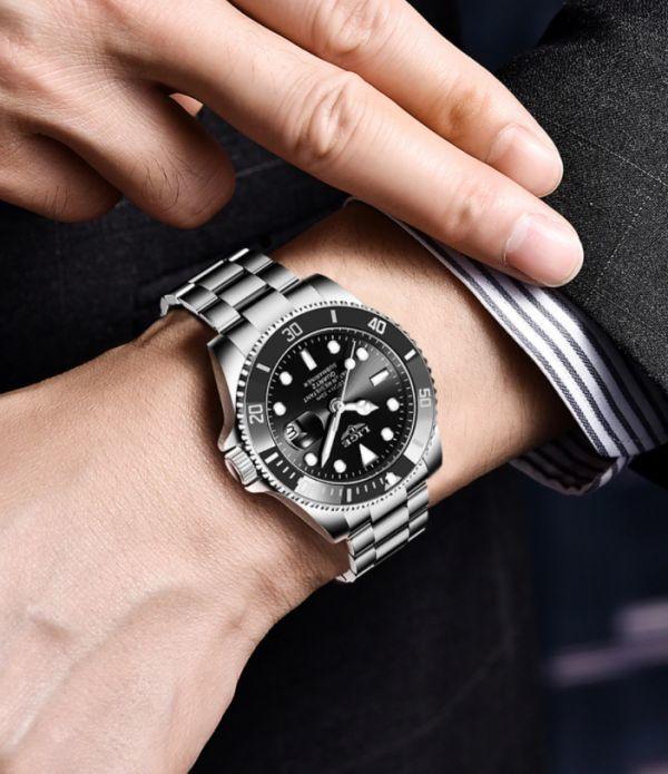 LIGE トップブランドの高級ファッションダイバー腕時計男性 30ATM 防水日付時計スポーツ腕時計メンズクォーツ腕時計レロジオ Masculino a_画像3