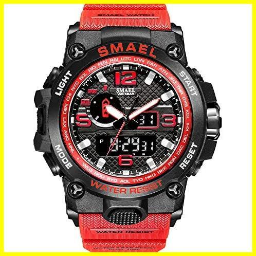 SMAEL ミリタリー 迷彩風 アナデジ 腕時計 メンズ 男性 アラーム クロノグラフ 多機能 スポーツ ウォッチ (カーキ)_画像1