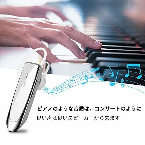 Link Dream 白 Bluetooth ワイヤレス ヘッドセット V4.1 片耳 マイク内蔵 ハンズフリー通話_画像3
