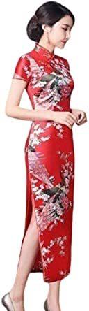 赤 XL 【美々杏】ロング丈 チャイナドレス サテン つるつる 孔雀と牡丹模様 コスプレ ハロウィン 舞台衣装 (赤, XL)_画像1