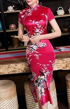 赤 XL 【美々杏】ロング丈 チャイナドレス サテン つるつる 孔雀と牡丹模様 コスプレ ハロウィン 舞台衣装 (赤, XL)_画像5